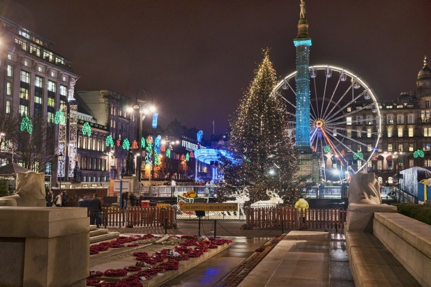The Christmas lights in George Square in will be switched on on Sunday November 19