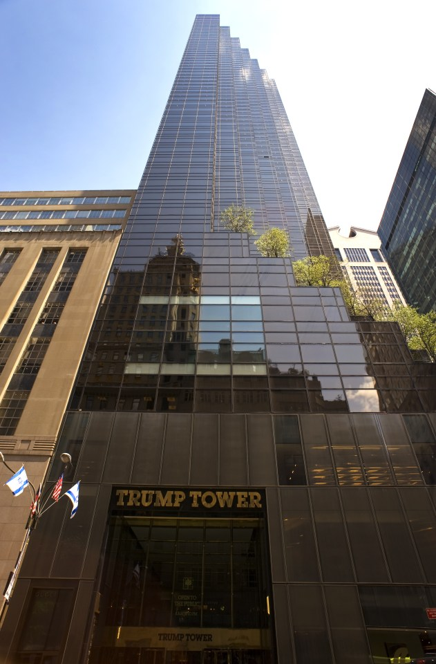 The majestic 58-storey building in New York, which displays Trump's name in lavish gold letters, towers over a street in Manhatten