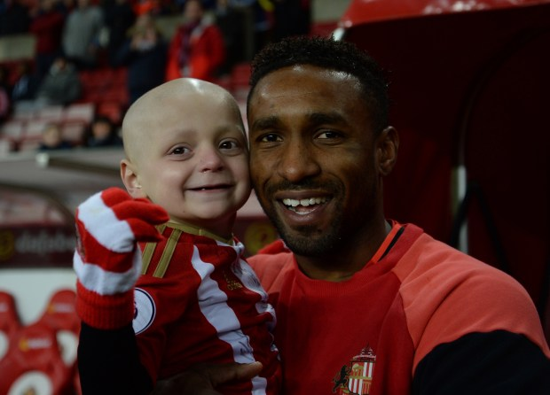 Bradley Lowery, seen here with his idol Jermain Defoe, sadly lost his battle with a rare form of cancer
