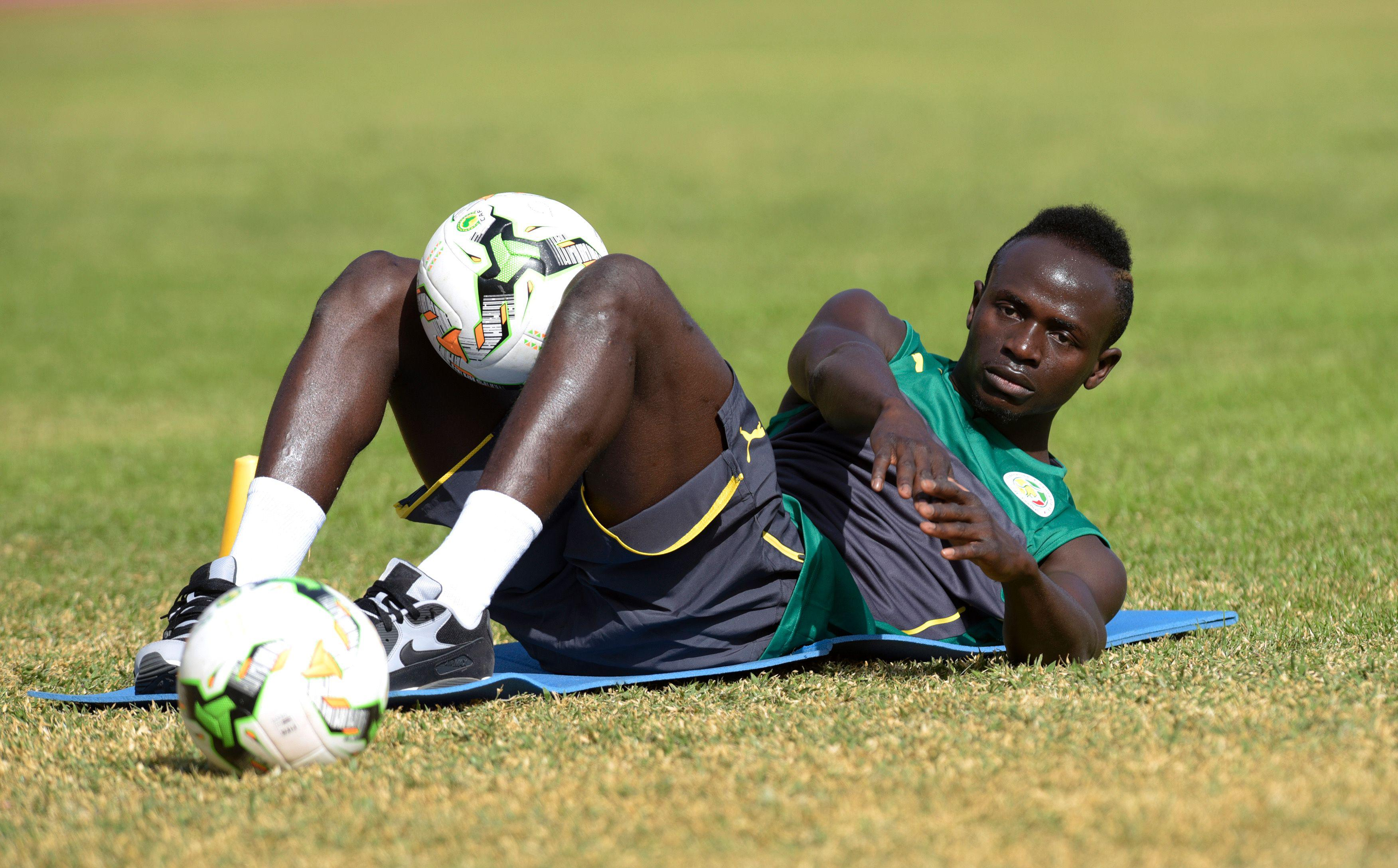Sadio Mane joins training session at the Leopold Sedar Senghor stadium in Dakar