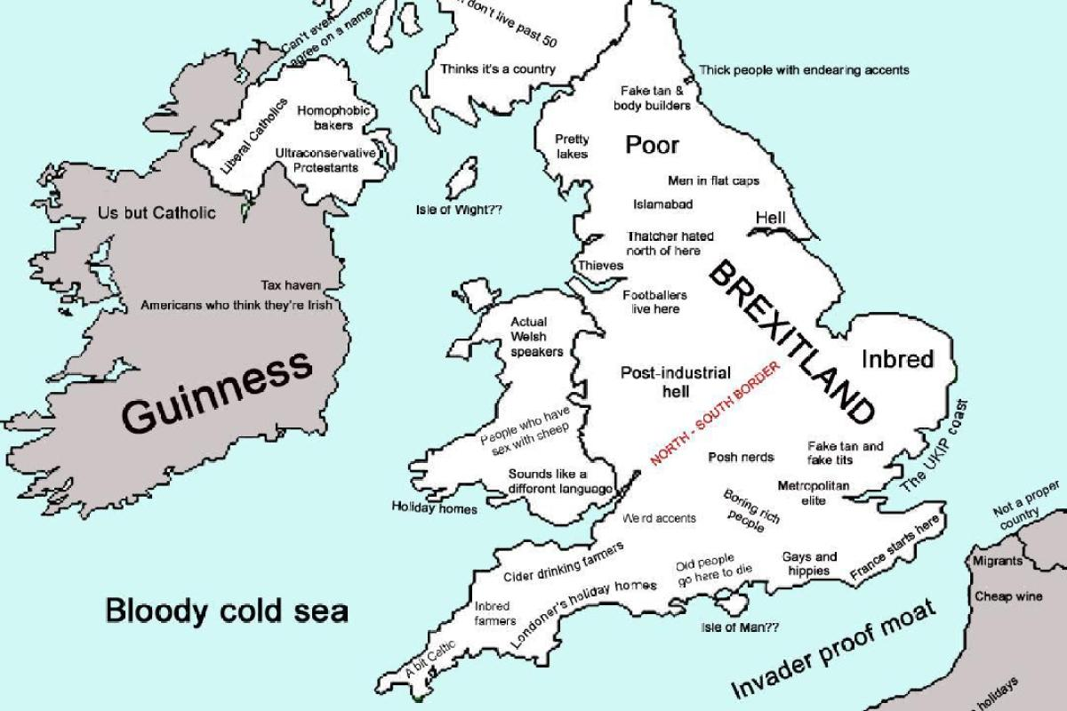 Map Of England Joke.Reddit User Makes A Map Of The Uk Using Social Stereotypes To