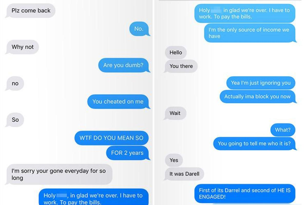 Man finds out his wife is cheating on him in the most savage texts