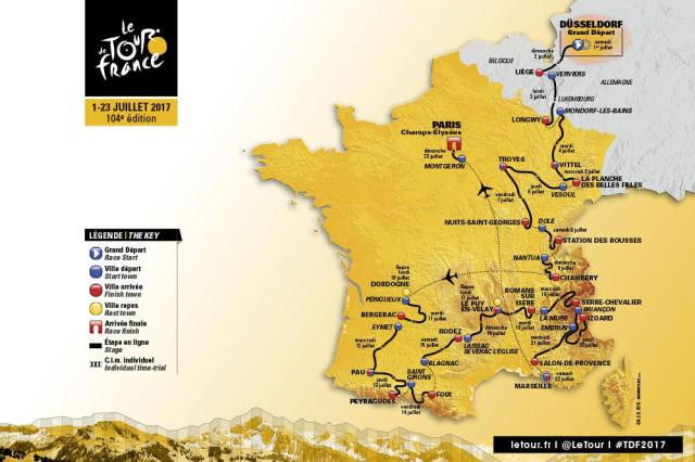The 2017 Tour de France route takes in Germany and Belgium as well as France