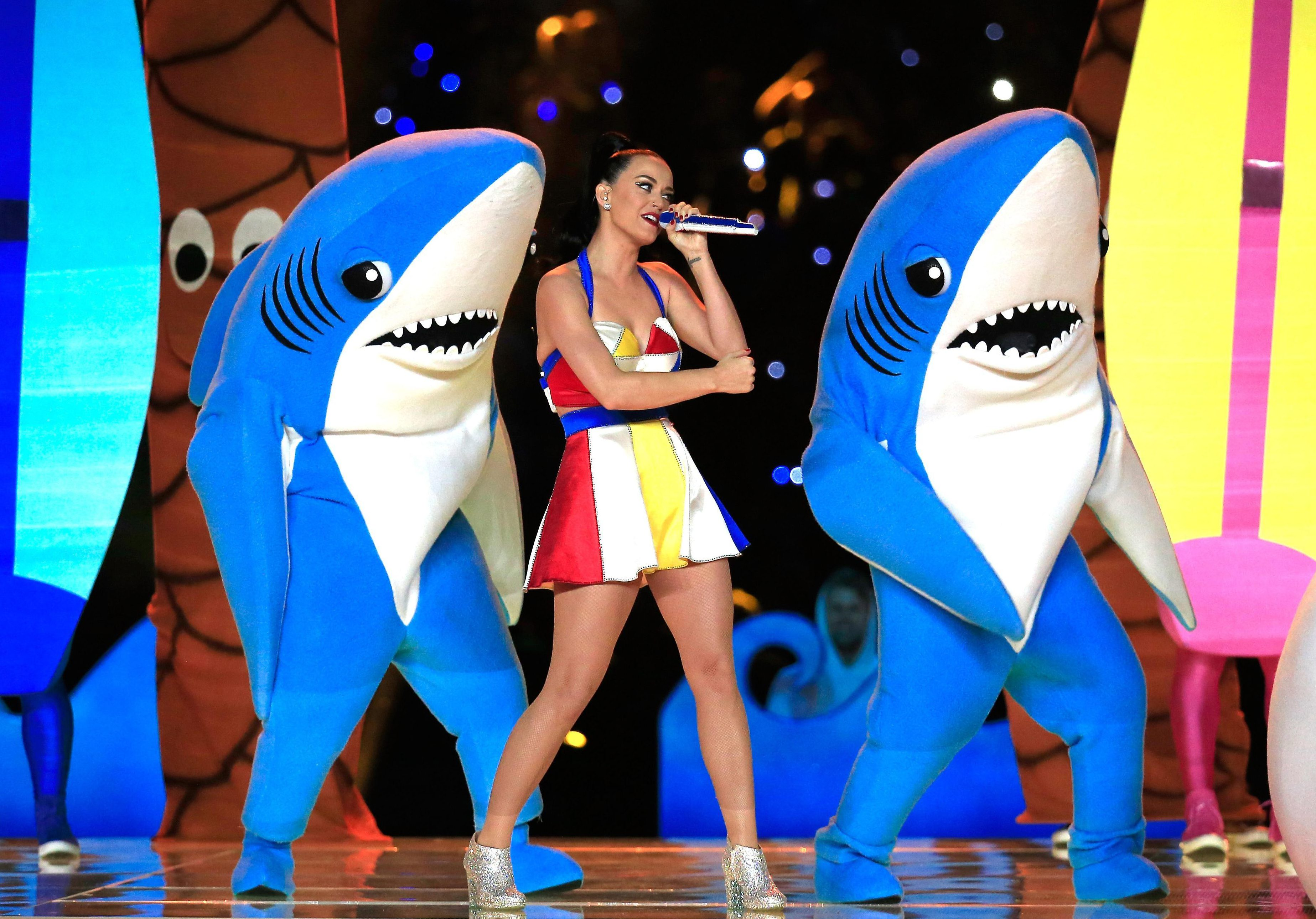 One of the back-up dancing sharks stole the show from Katy Perry at Super Bowl 49 in Arizona