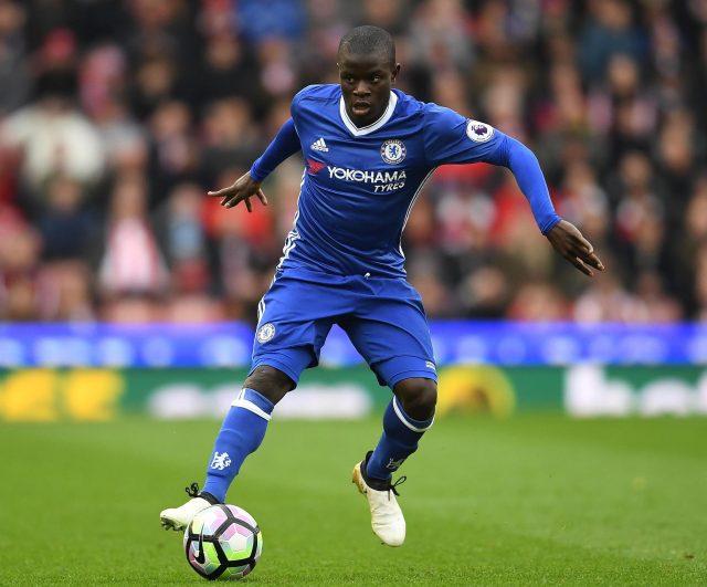 Chelsea star N'Golo Kante takes his place in midfield