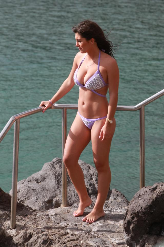 The busty brunette looked great in her lilac bikini, with her tough fitness regime clearly paying dividends
