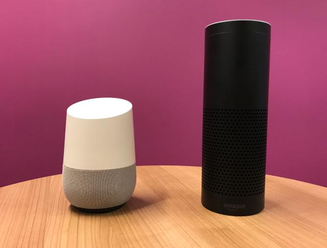 The electronic device is a voice controlled speaker that connects to your WiFi network