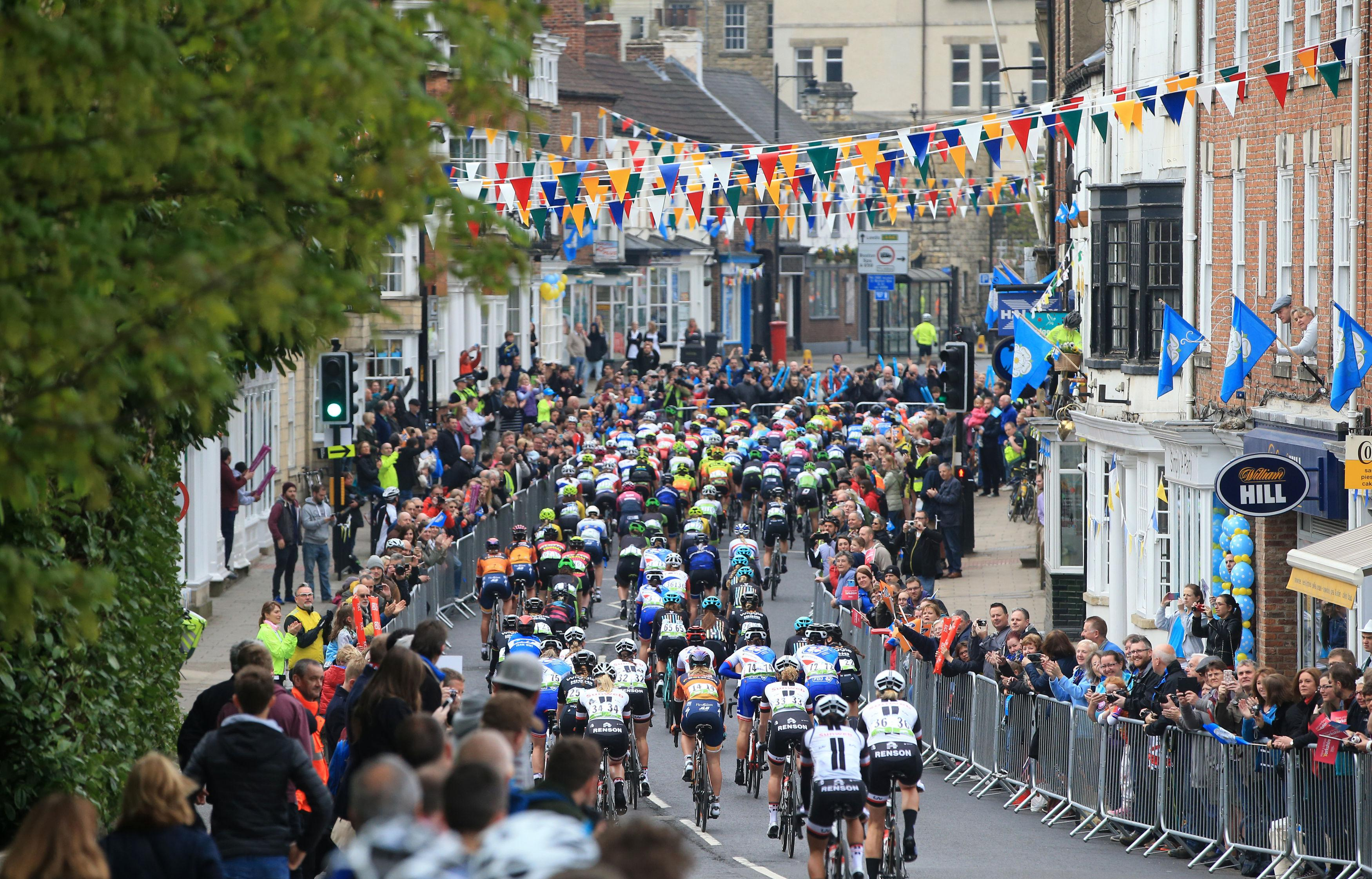 Riders enjoy a carnival atmosphere at the women's Tour de Yorkshire