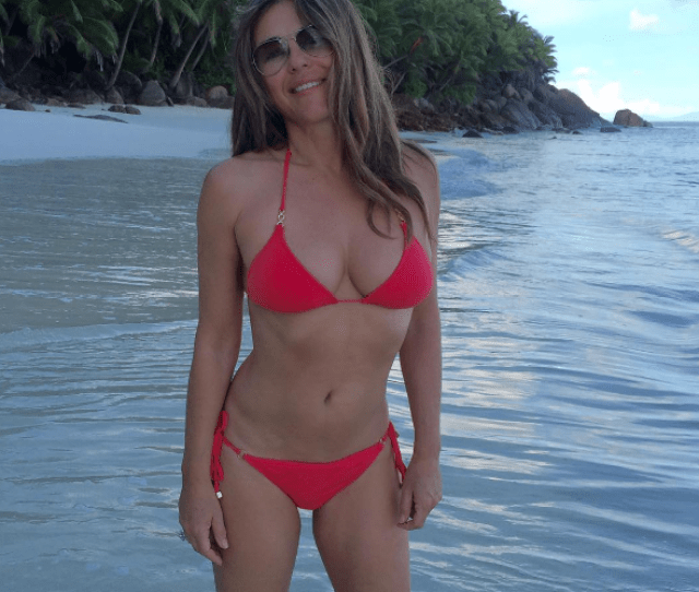 Elizabeth Hurley Looks Fabulous At  As She Shows Off Her Bikini