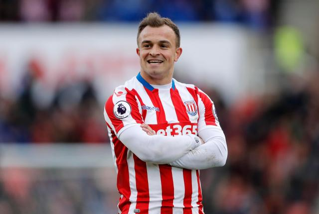 Xherdan Shaqiri laps up the crowd after scoring a stunner, not for the first time this season