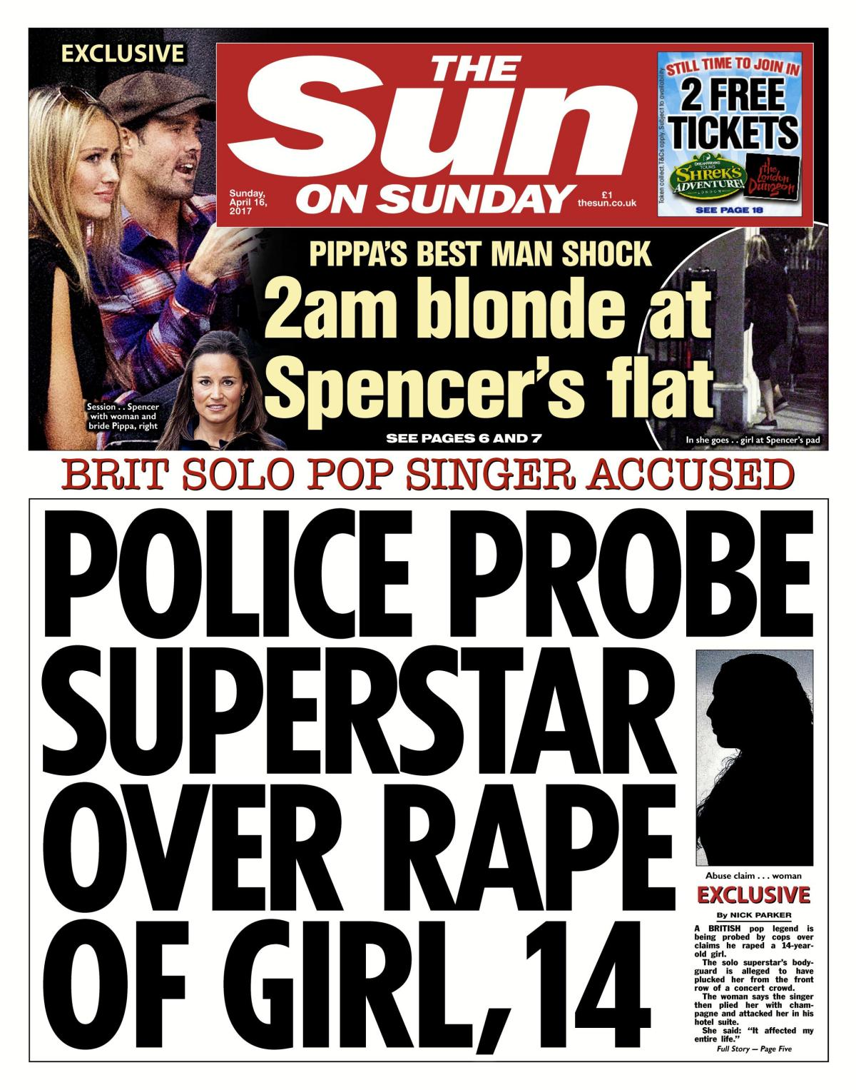 The Sun on Sunday revealed on April 16 how the pop star was being probed over a rape claim