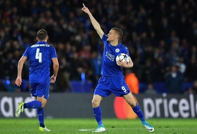 Jamie Vardy celebrates but his goal was not enough for Leicester