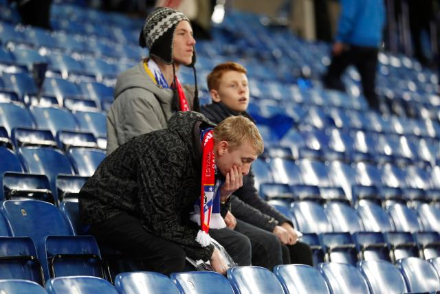 Gutted Leicester fans also lingered after the final whistle