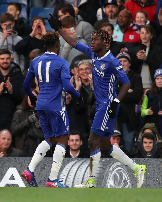 Trevoh Chalobah celebrates after his early header opened the scoring