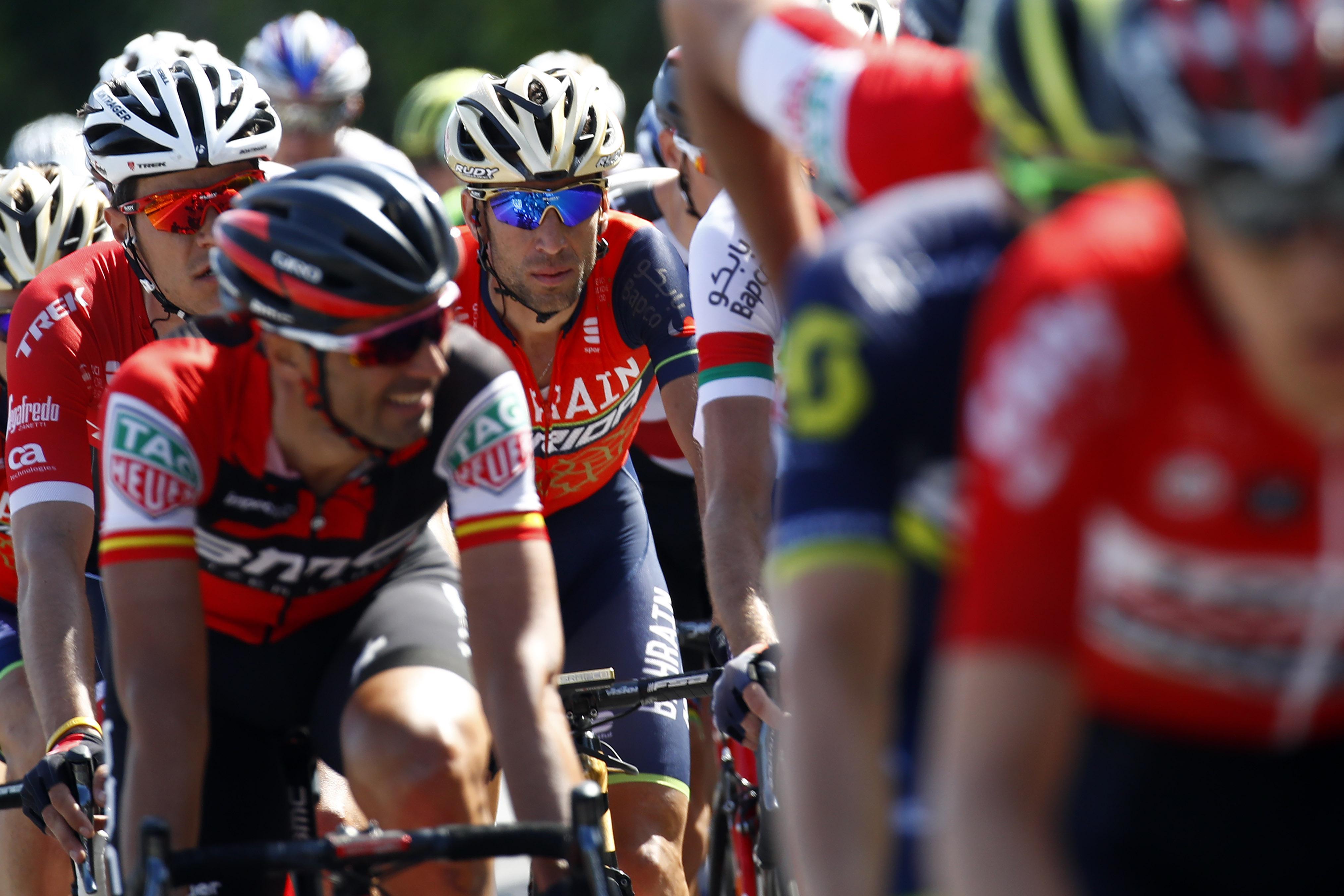 Luka Pibernik's Bahrain-Merida team-mate Vincenzo Nibali (centre, rear) was the local hero as he rode into his home town of Messina