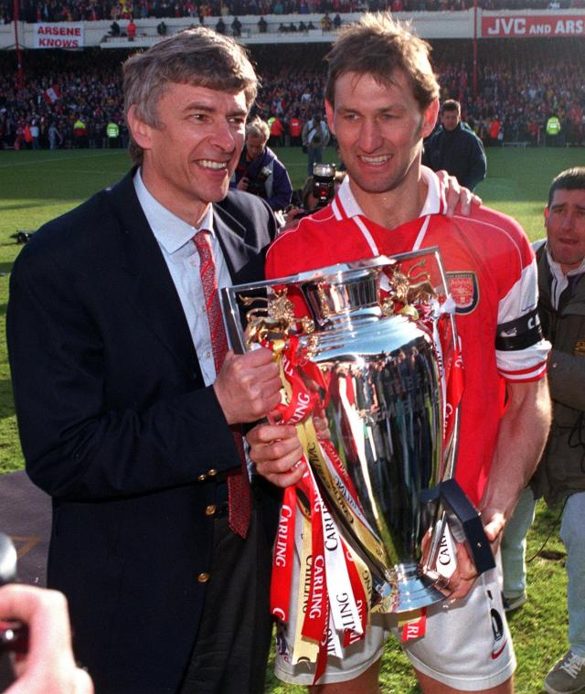 Wenger and Adams with the Premier League trophy in 1997-98