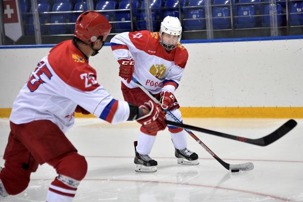 Vladimir Putin geared up and took to the ice at Shaiba stadium