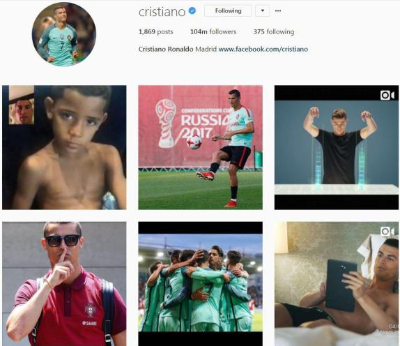 This is how Cristiano Ronaldo's Instagram profile currently looks, with no Real Madrid shirt in sight
