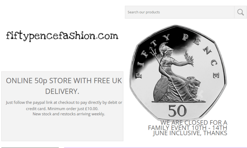 The online store offers a whole range of products for just 50p