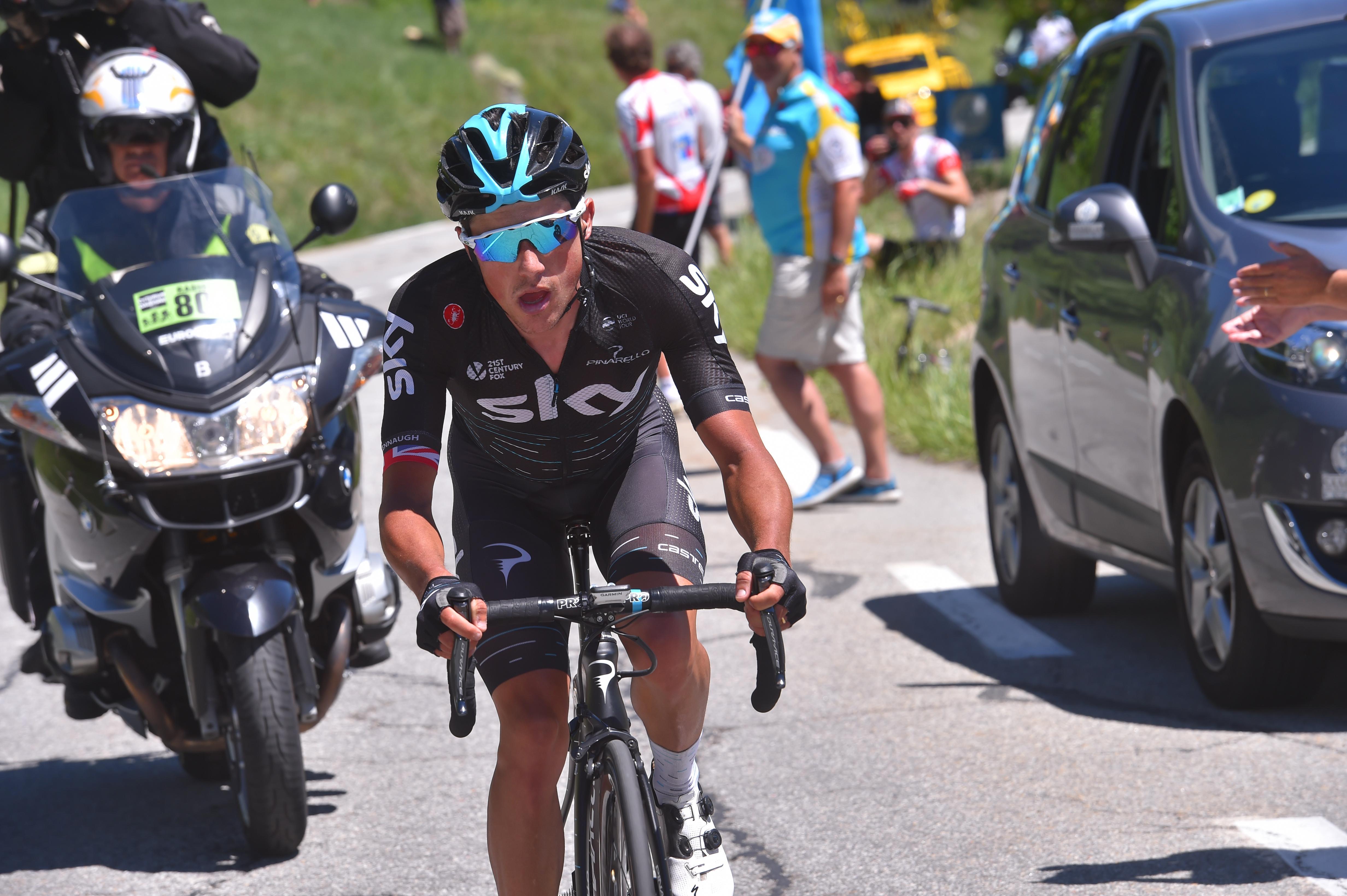 Peter Kennaugh accelerates up Alpe d'Huez