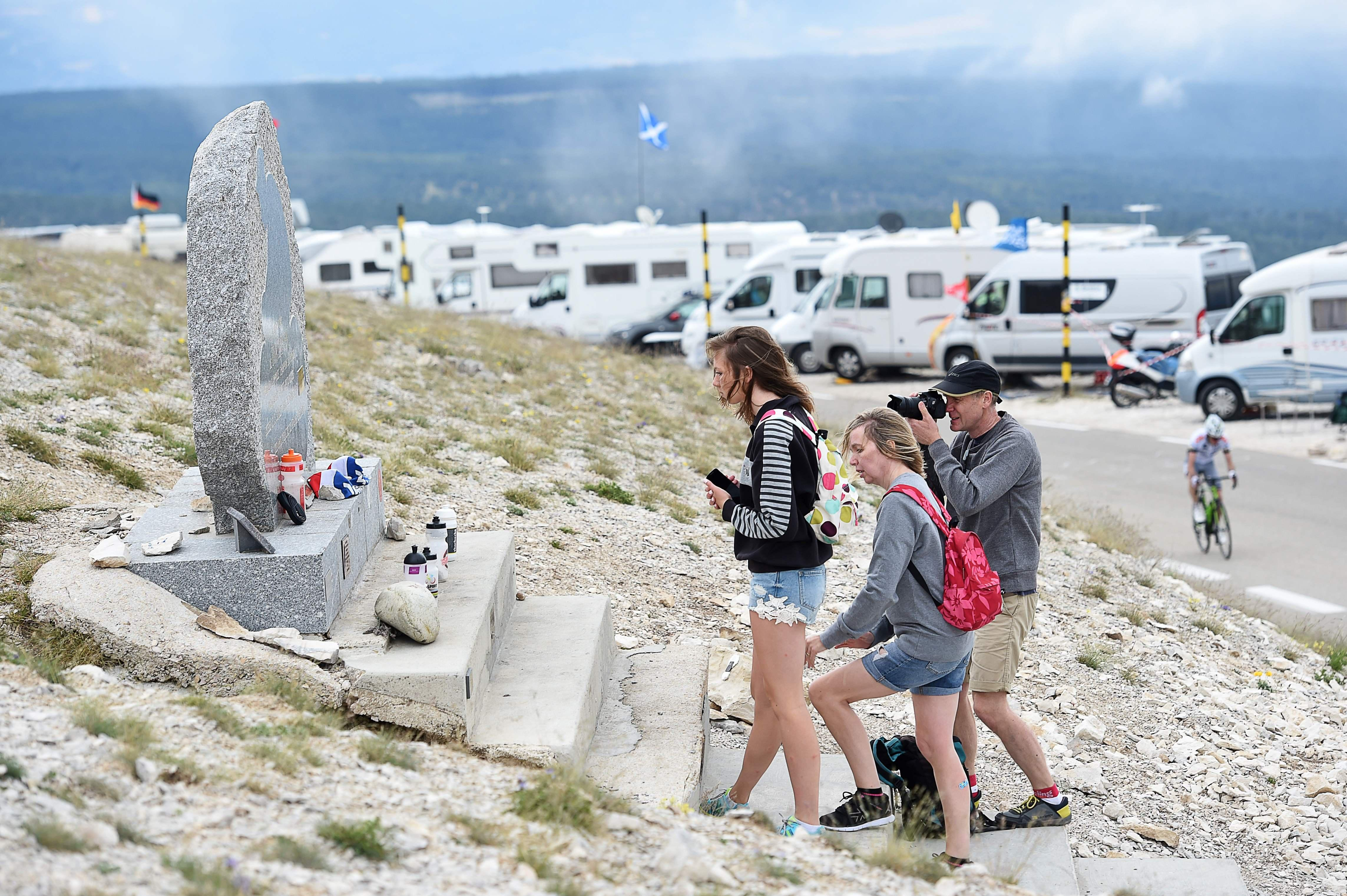 The Tom Simpson memorial on Mont Ventoux is visited by British cycling fans every year