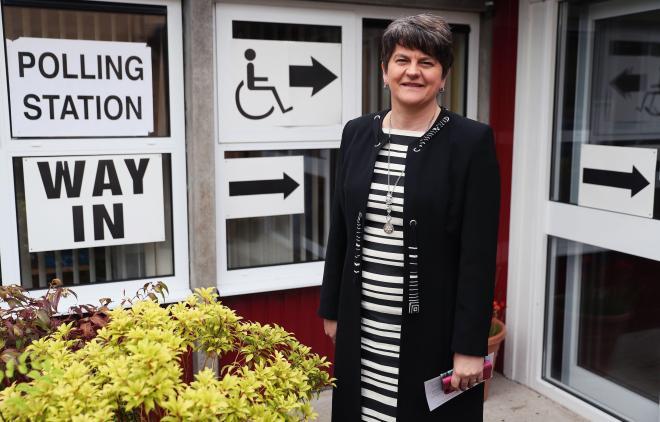 Arlene Foster casts her vote yesterday