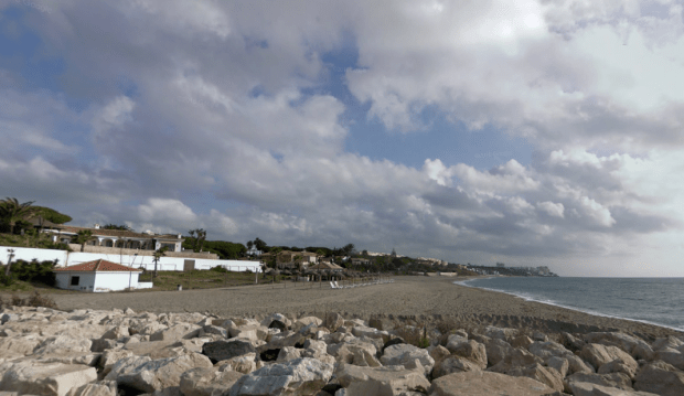 Police were called to Cabopino beach after a man was detained