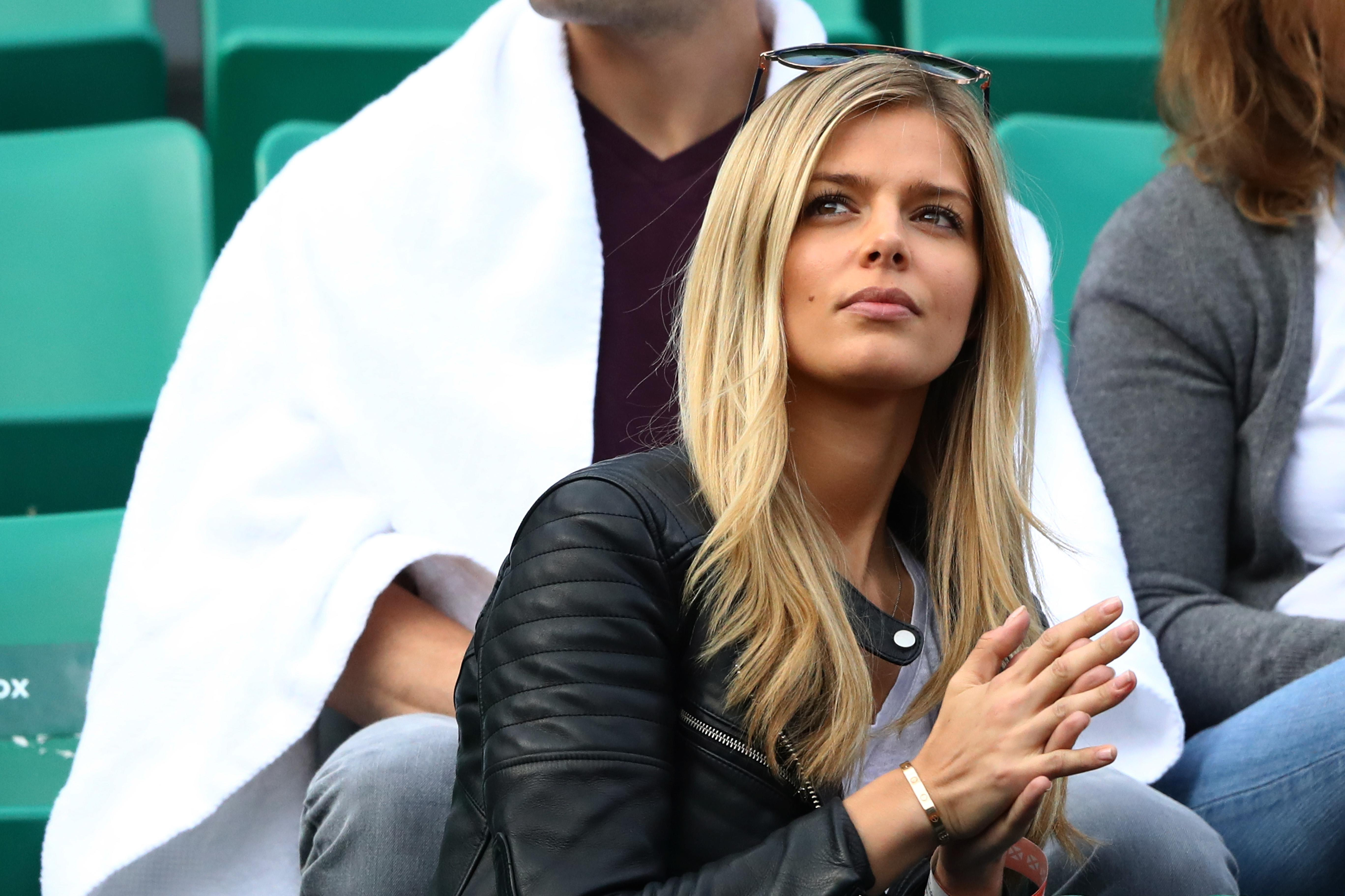 Danielle Knudson watches Milos Raonic play during the 2016 French Open