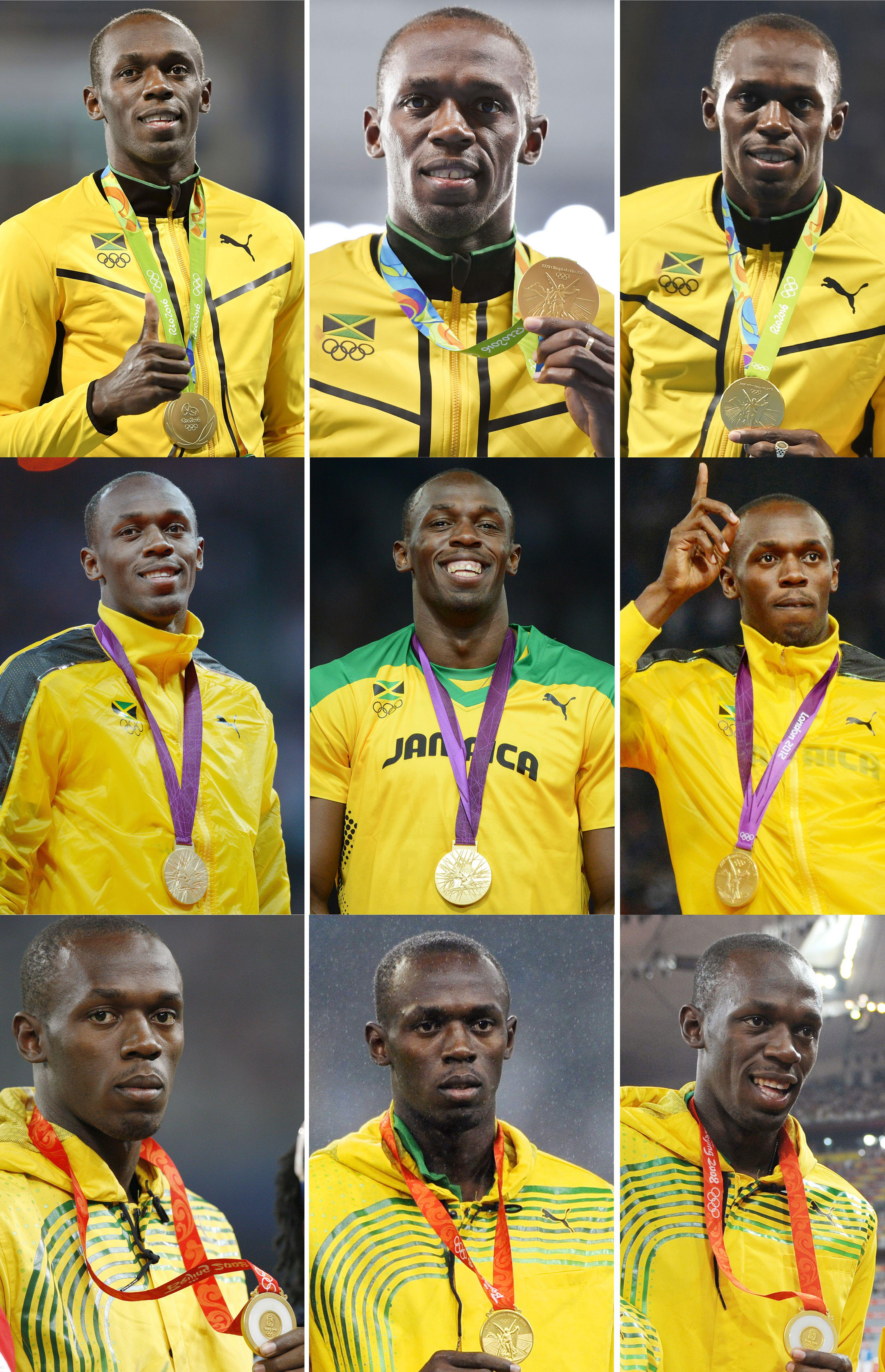 A combination of nine pictures made on August 20, 2016 shows Jamaica's sprinter Usain Bolt posing with his gold Olympic medals