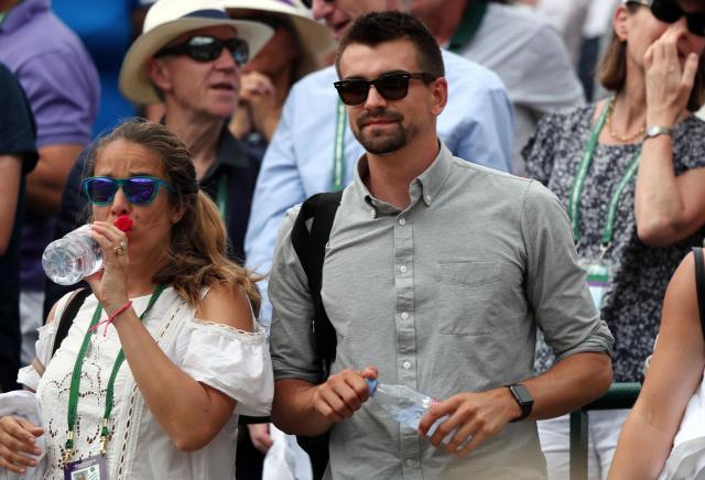 Johanna Konta's boyfriend enjoying his afternoon in the players box at Wimbledon