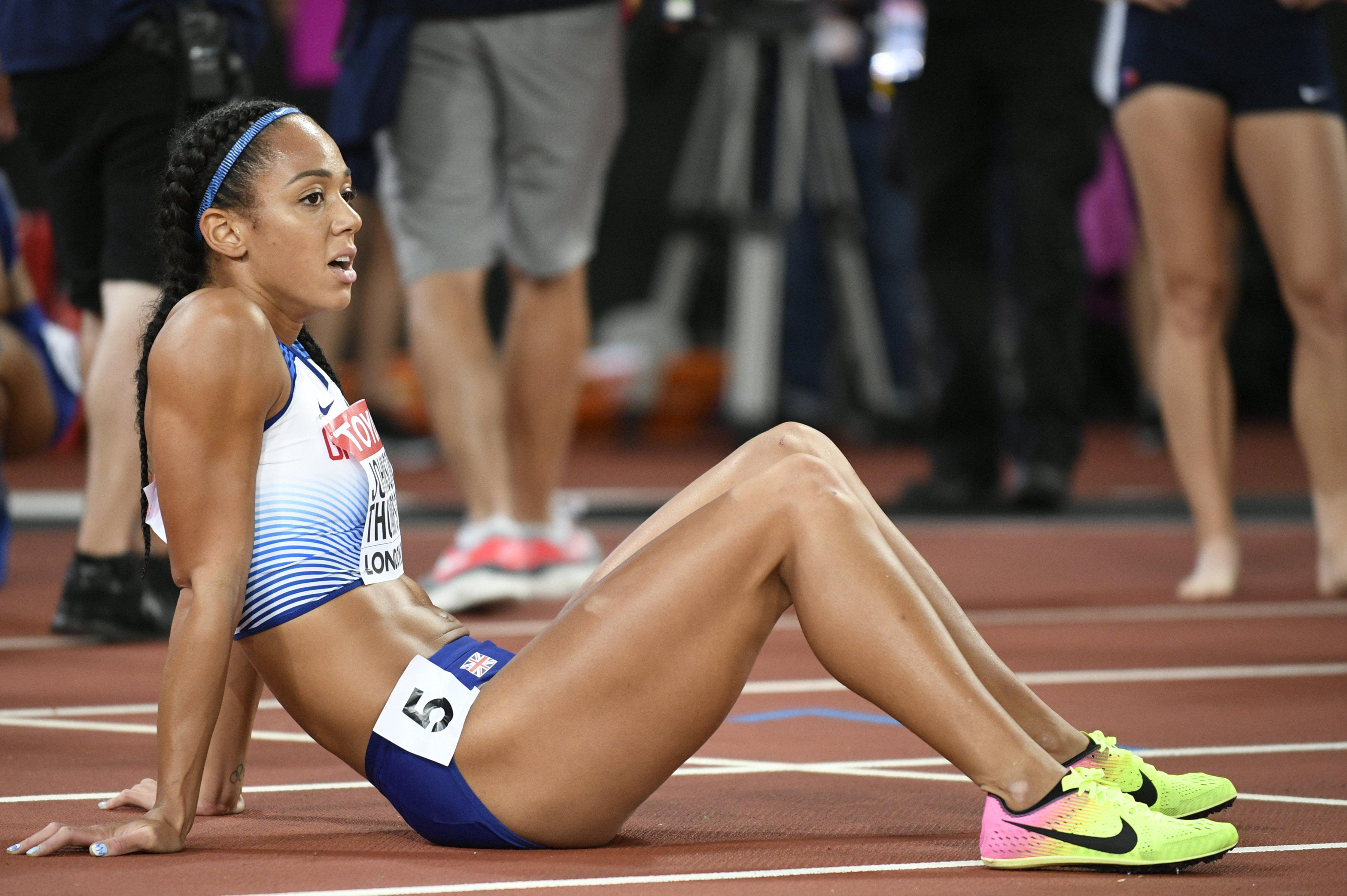 Katarina Johnson-Thompson was left flat out after giving her all in the 800 metres