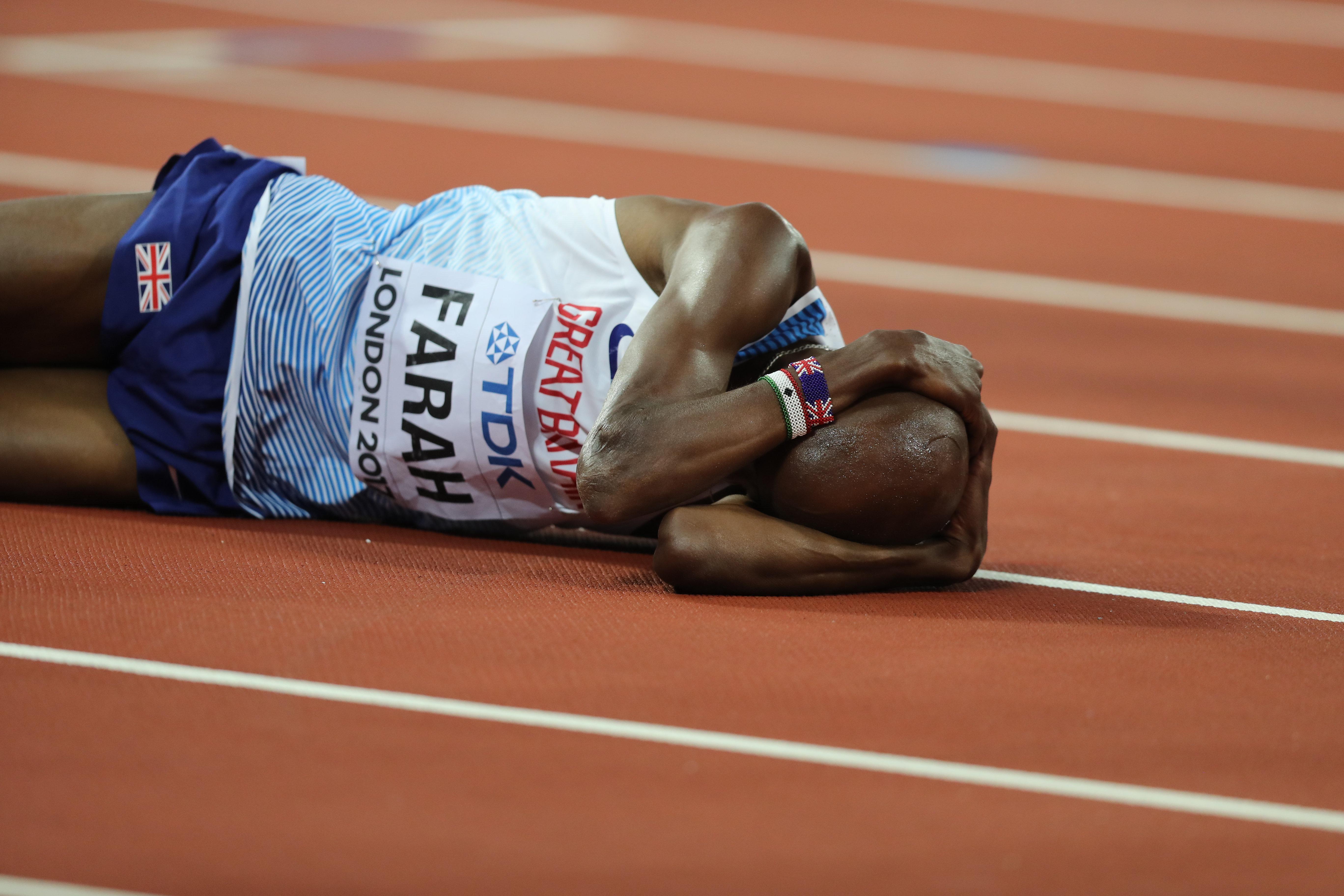 Mo Farah is left distraught as he just comes up short with silver in the 5,000m