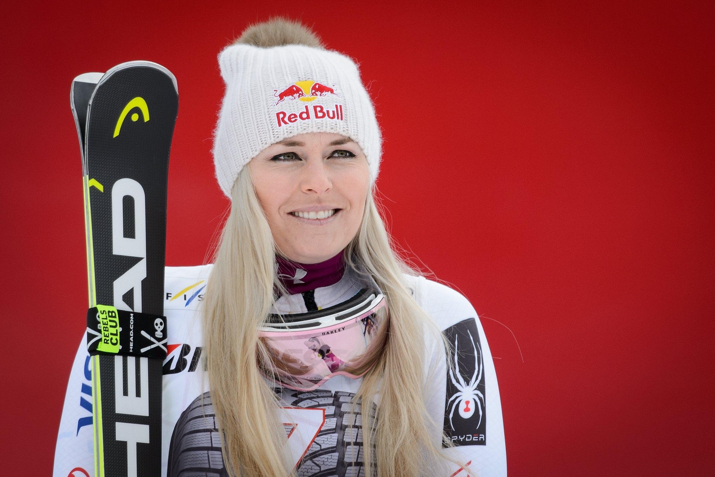 Vonn during the award ceremony atr the FIS Alpine Ski World Cup event in Garmisch-Partenkirchen