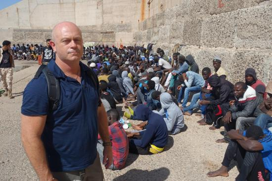 Ross Kemp: Extreme World: Patrolling the Mediterranean sea with the Libyan coastguard, Ross (above) witnesses the capture of 750 migrants desperate to get into Europe