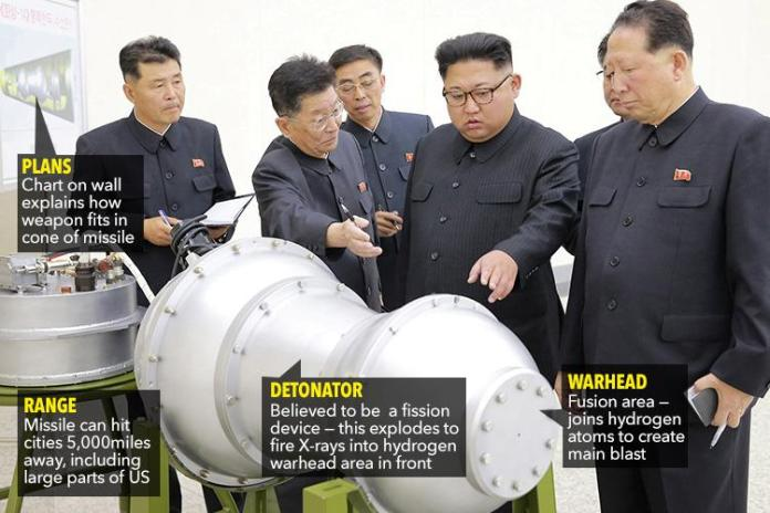Pyongyang released pictures of North Korean leader Kim Jong-un with what state media said was a new type of hydrogen bomb