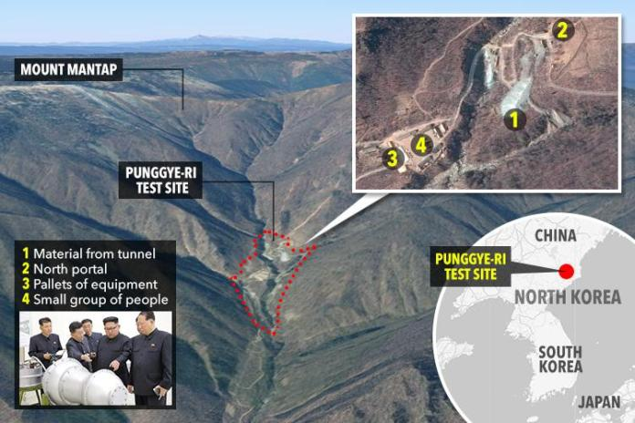 The Punggye-ri test site in North Korea is carved deep into Mount Mantap, as these file images show