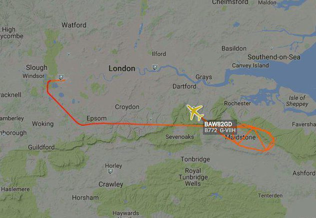 The flight looped back over Kent returning to Heathrow