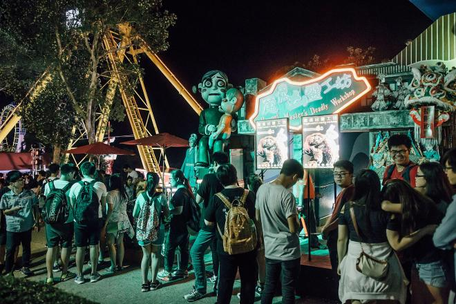 People queue for the haunted house at Ocean Park, Hong Kong (file image)