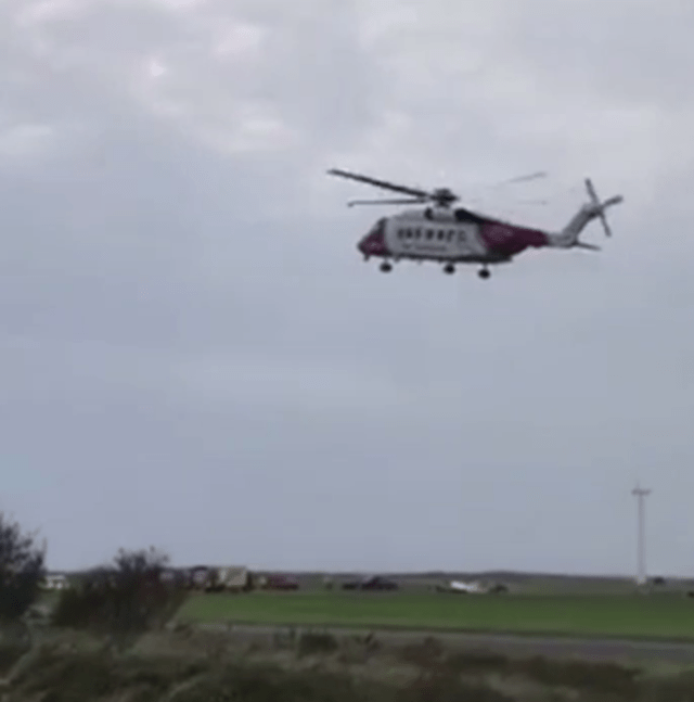 Welshpool air ambulance pictured arriving at the scene