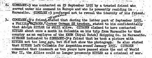 It goes on to suggest that Hitler, who would have been aged 66, worked as a shipping company employee before fleeing to Argentina