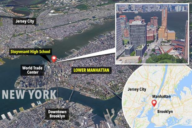 The rented pickup truck ploughed into cyclists in Lower Manhattan, close to a school