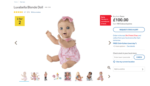 The interactive doll has been tipped as this Christmas' must-have toy. But Tesco already ran out of stock.