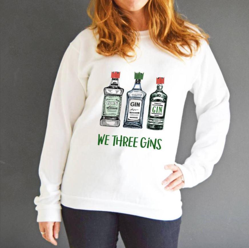 Fans of novelty jumpers love this We Three Gins one