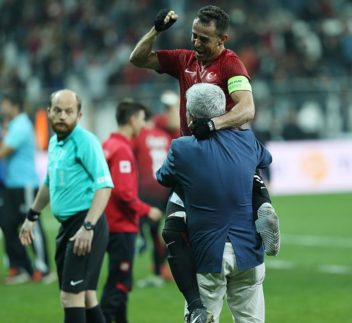 The Turkey players were hoisted in the air after their last-gasp victory secured them the silverware