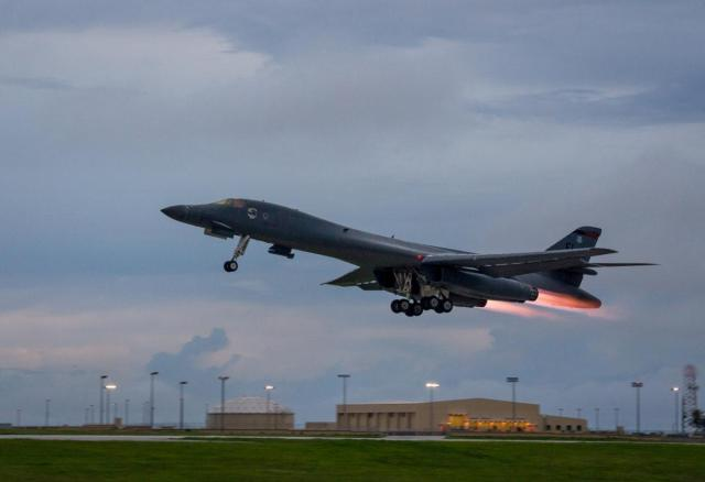 "The US has flown two bomber jets over the Korean peninsula in a ""show of force"", shown is a B-1B Lancer"