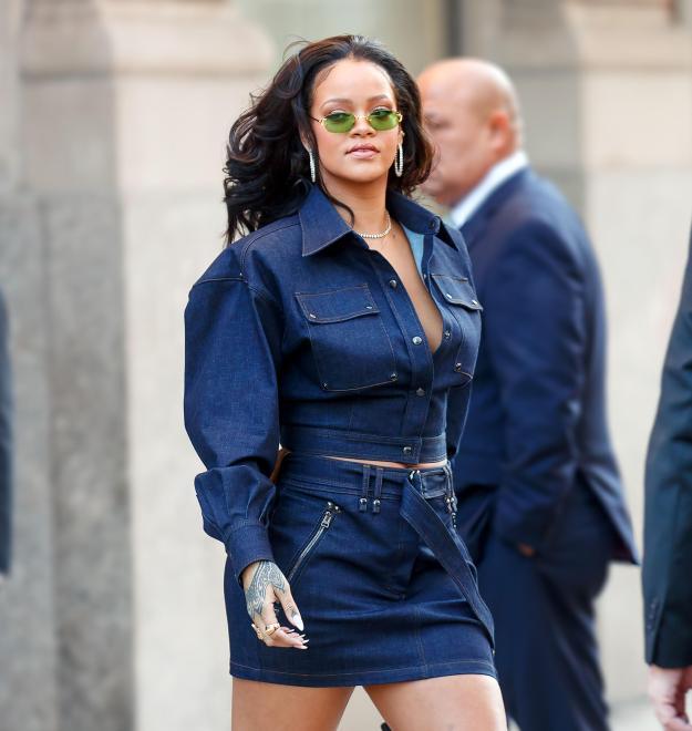 Rihanna donned a matching denim outfit