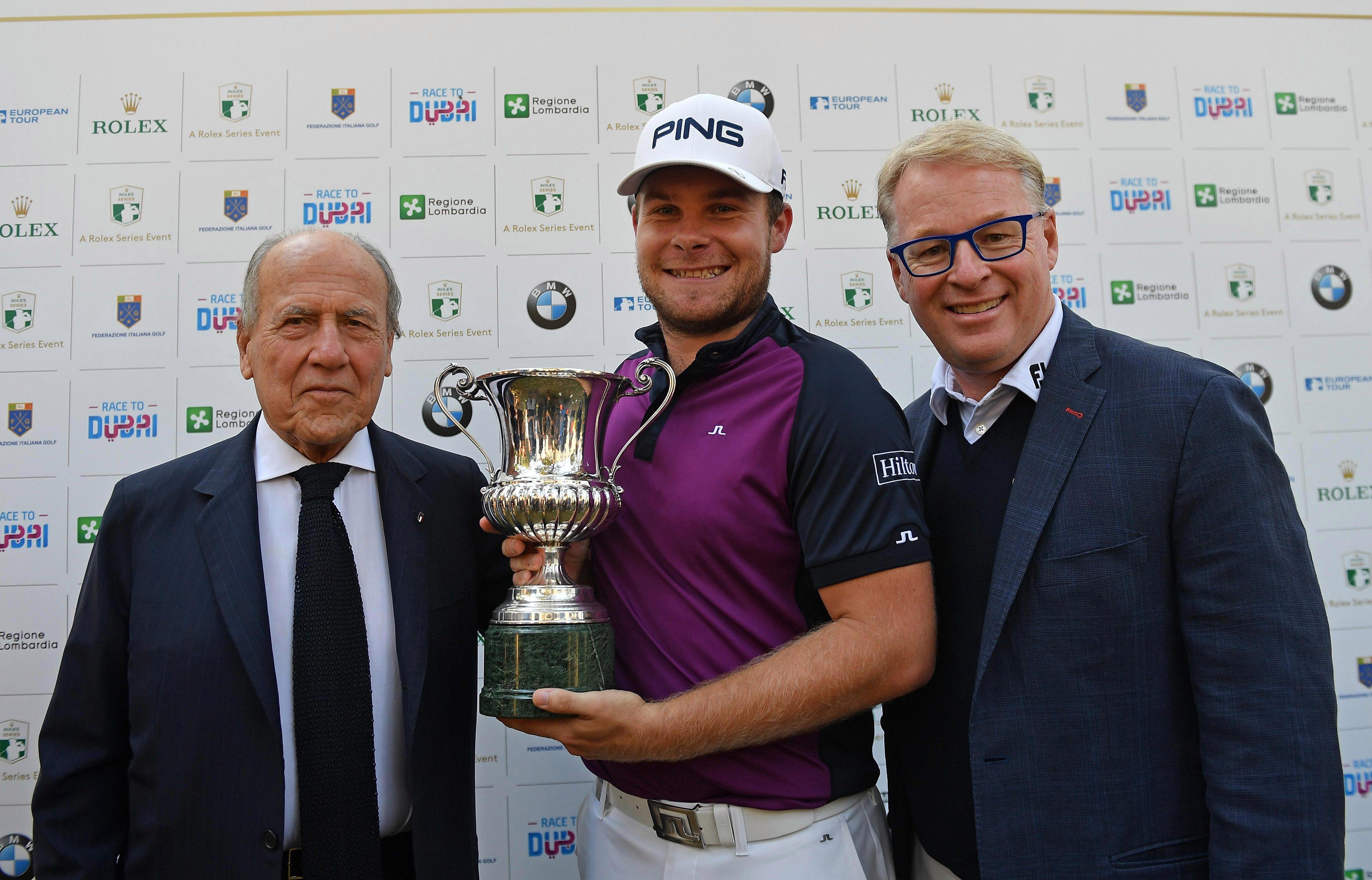Tyrrell Hatton claimed the Italian Open title with a final green putt