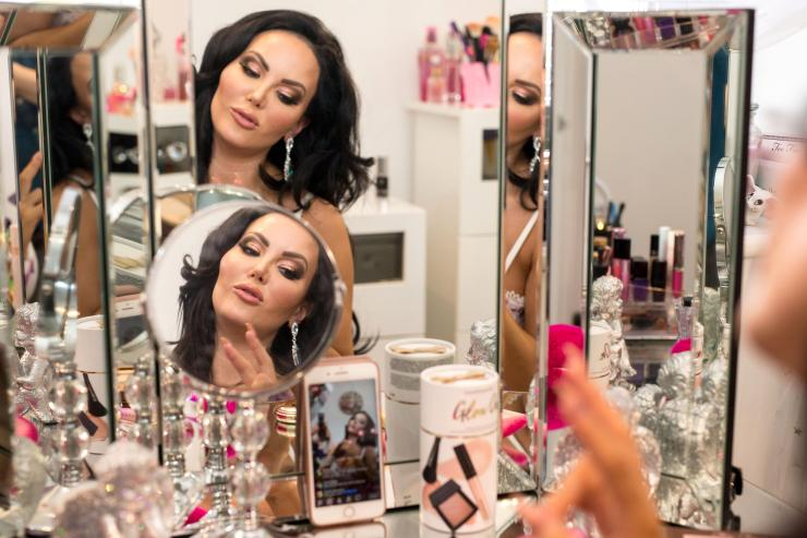 The former model has mirrors hanging in every room inside of her house