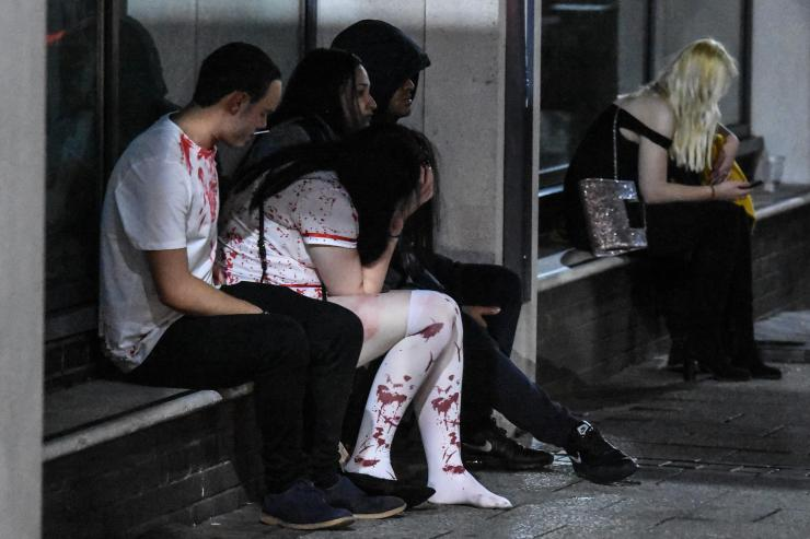 The night wasn't all fun and games, with one bloodied nurse holding her head in her hands