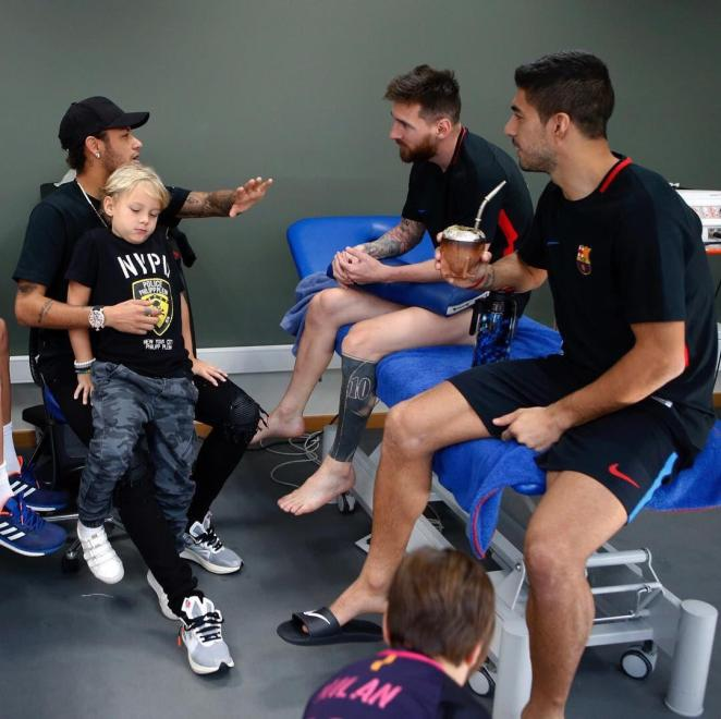 Neymar shares image of himself back with Barca pals Lionel Messi and Luis Suarez